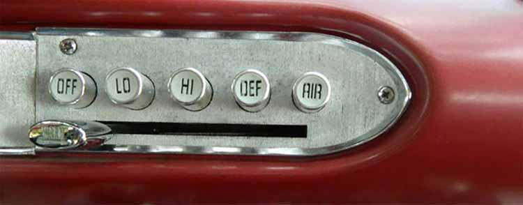 Photograph of a 1960 Plymouth Fury sedan air conditioning control panel