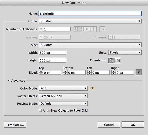 Screenshot of Adobe Illustrator new document settings for a SVG production