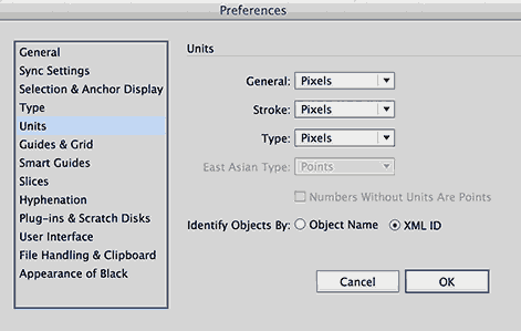Screenshot of Adobe Illustrator Preference settings for SVG production