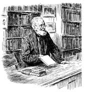 Etching of Victorian Bookseller
