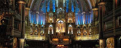 Photograph of the interior of Notre Dame basilica, Old Montreal, Quebec, Canada