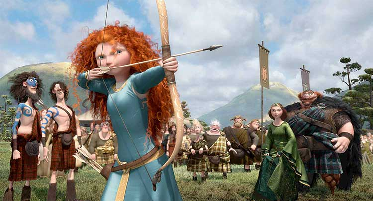 A still from the archery contest scene in the animated Pixar movie Brave