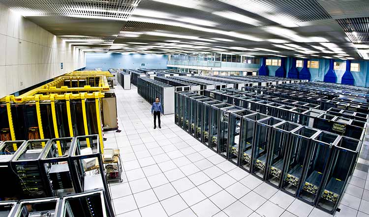 Photo showing CERN's Computer Center during the installation of servers.