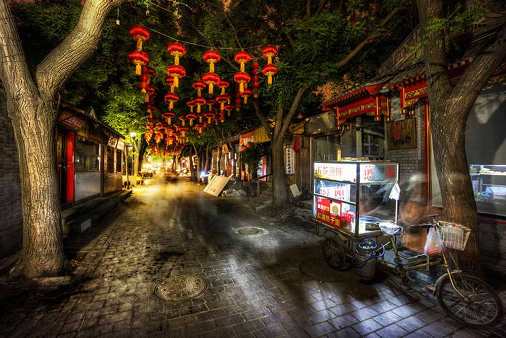 Chinese street with lanterns