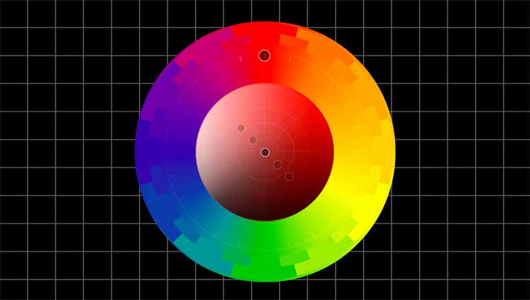 A color wheel, with a grid background