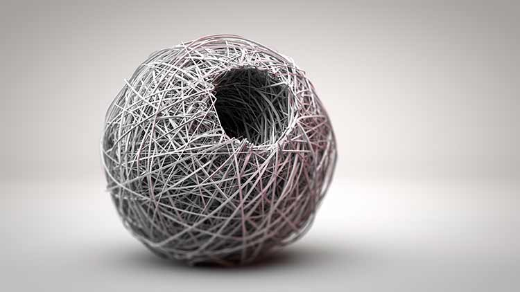 A ball of twine with a hole in it