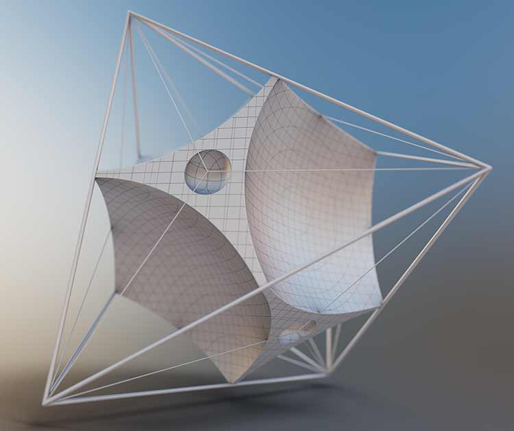 A rendering of a white mathematical shape inside a scaffolding structure