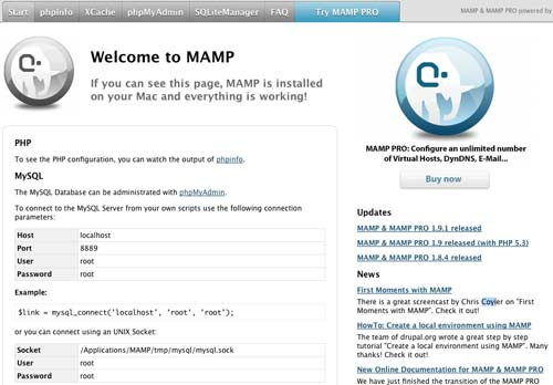 Default MAMP page