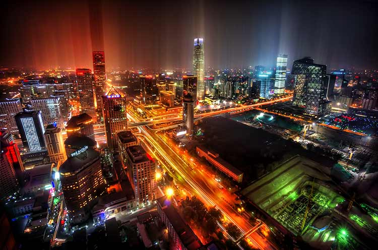 A long-expsure photograph of downtown Beijing at night