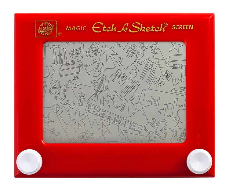An Etch-a-Sketch with a drawing