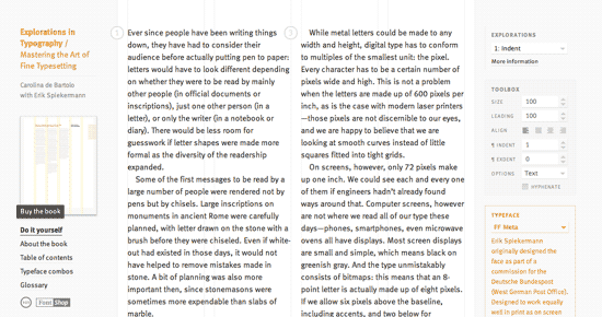 Screenshot of Explorations In Typography site