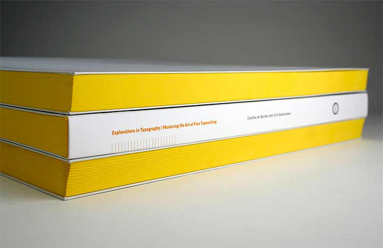 Photograph of the spine of the book Explorations in Typography