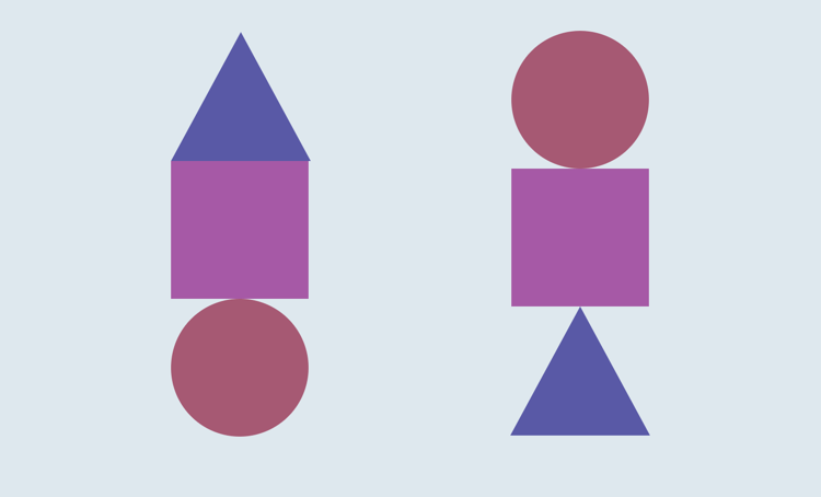 A series of triangles, squares and circles stacked on top of each other