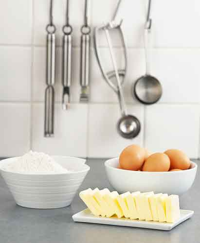 Flour, eggs, butter and utensils