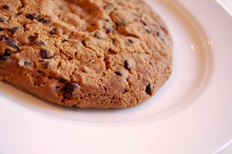 A very large chocolate chip cookie on a white plate