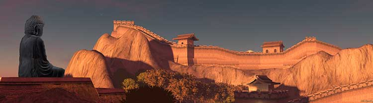 Image of an idealised Great Wall of China, taken from the virtual environment Second Life