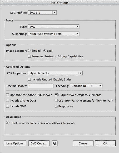 the new code – SVG Export Settings For Adobe Illustrator