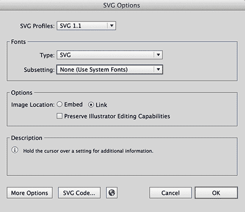 the new code – SVG Export Settings For Adobe Illustrator