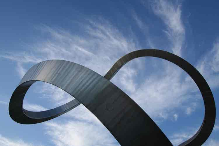 A metal loop against a blue sky filled with clouds