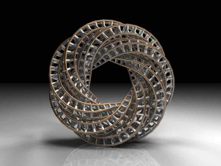 A braided silver mathematical torus