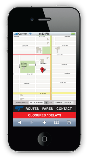 Calgary Transit Web Site Redesign on iPhone