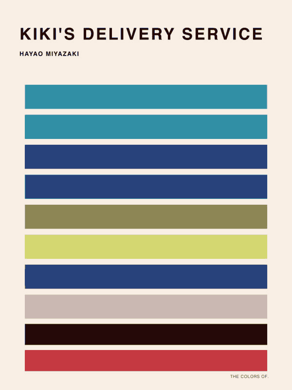 Color palette sample from Kiki's Delivery Service