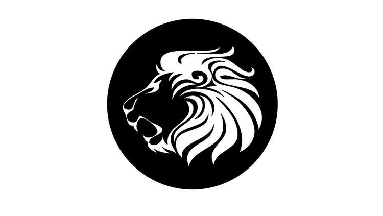 A black and white profile illustration of a lion in a circle
