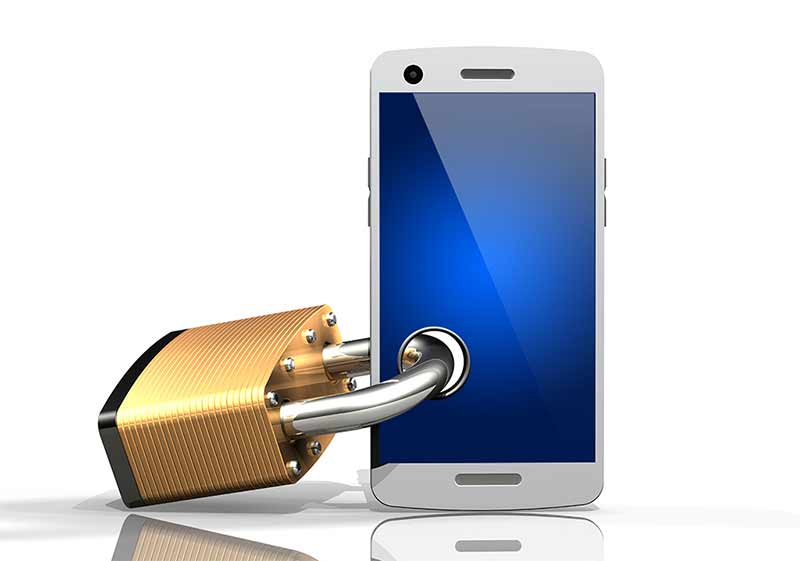 Am illustration of a mobile phone with a padlock through it