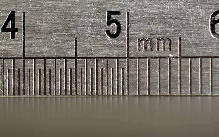 Close up of a metal ruler