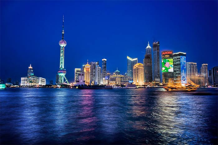 Photograph of Shanghai at night