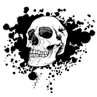 An illustration of a skull against a spattered ink background