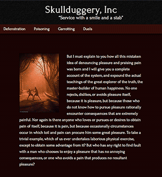 Screenshot of Skullduggery responsive site in portrait aspect ratio