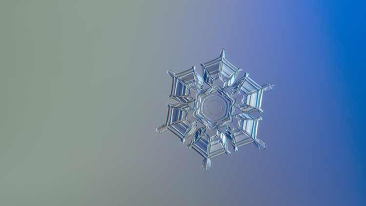 A single hexagonal snowflake against a yellow and blue background