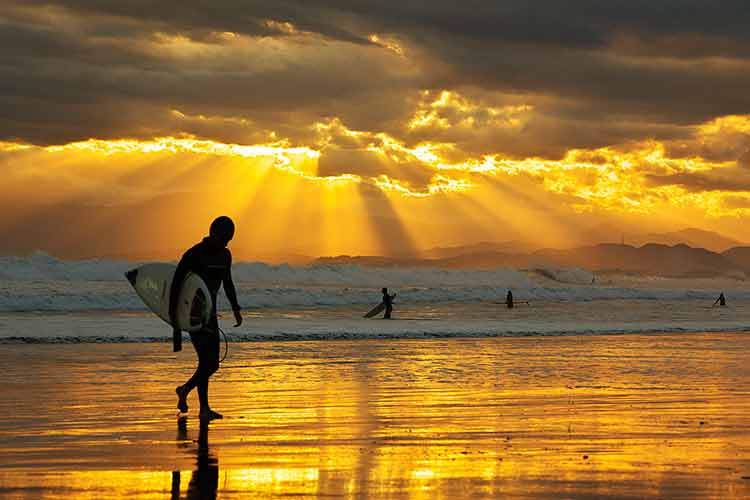 Surfers on a beach in front of a golden sunset