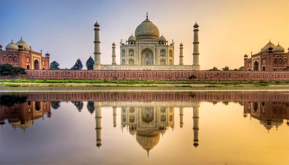 Photograph of the Taj Mahal reflected in water