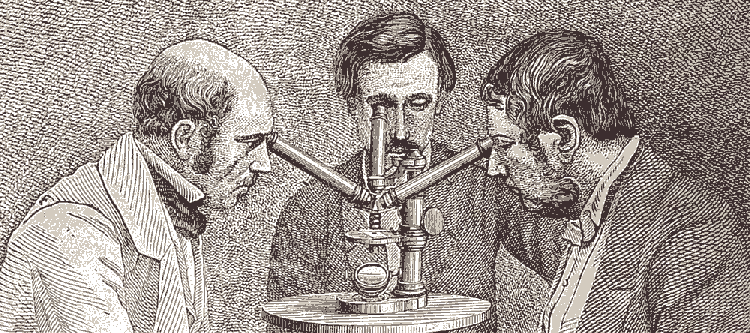 Victorian engraving of three men at a microscope