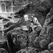 Etching of a Victorian painter by a waterwall