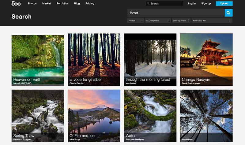 500px Creative Commons search options