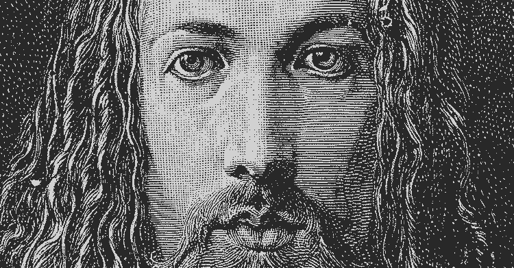 Close-up of Albrecht Dürer engraved self-portrait