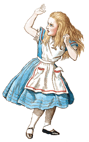 An illustration of Lewis Caroll's Alice with her hand raised