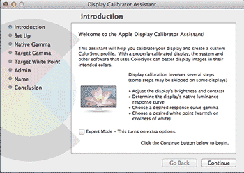 OS X display calibration assistant