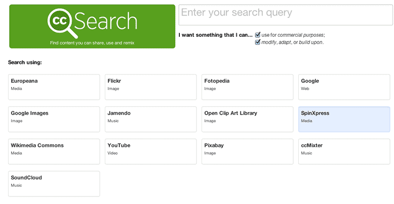 Creative Commons search options