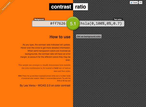 Screenshot of contrast ratio site application