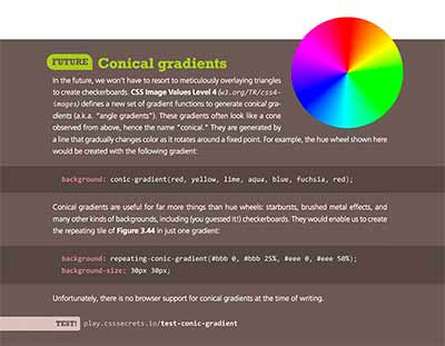 Page from CSS Secrets detailing conical gradients