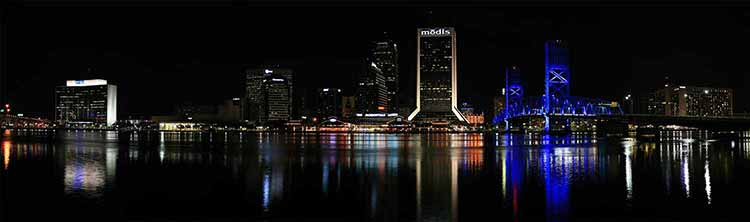 A photograph of the skyline of Jacksonville Florida at night