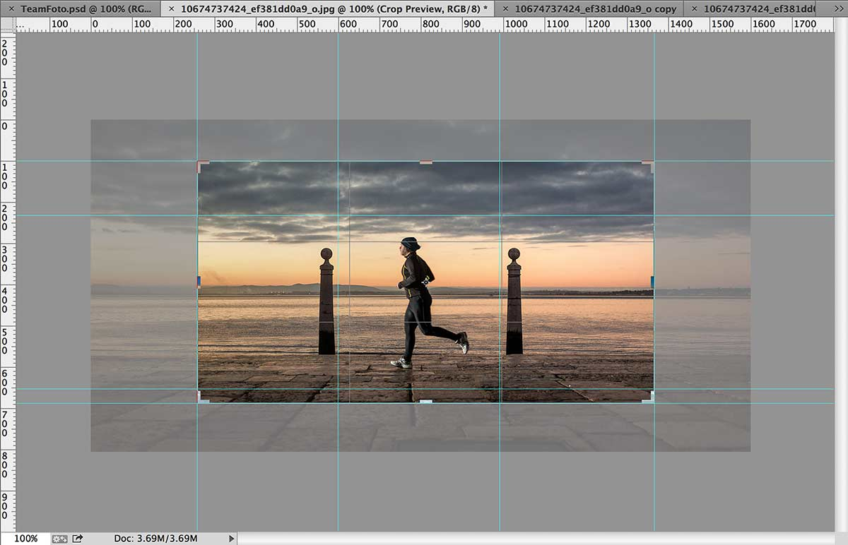 A photograph being prepared in PhotoShop with cropping