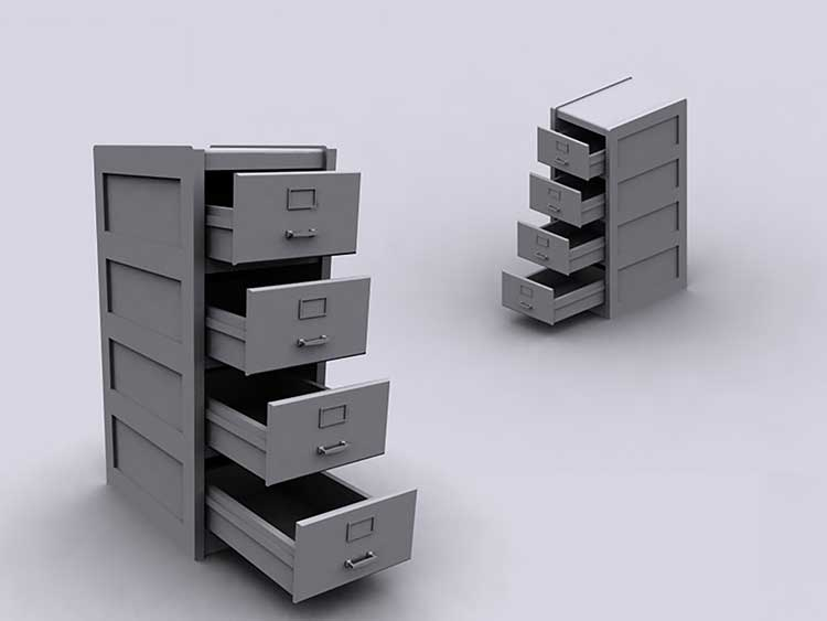 A rendering of two grey filing cabinets against a grey background