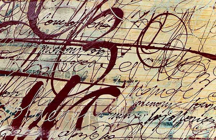 Detail of a mixed media typographic painting by Choichun Leung