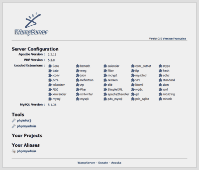 WAMPserver screenshot