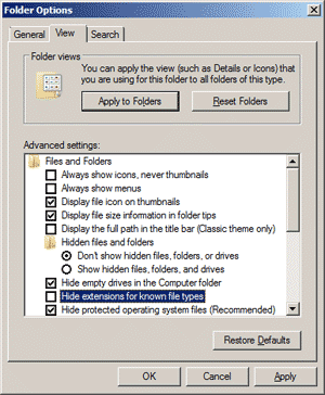 Windows 7 View folder options